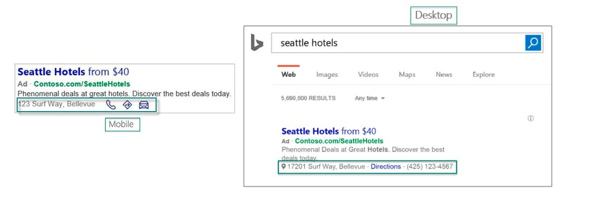 Image of a Microsoft ad with a location extension
