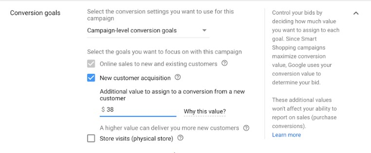 Conversions Goals - Smart Shopping