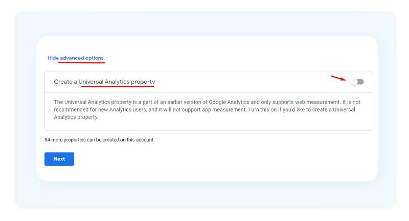 Universal property Google Analytics 4
