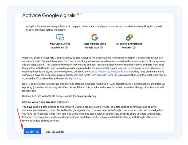 Configuring Google Signals