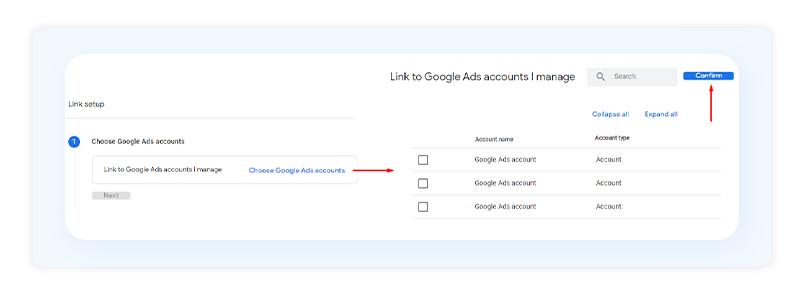 Google Ads accounts associated