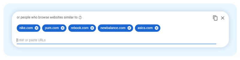 Google ads Custom Audiences and similar websites
